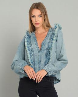 Koszula jeansowa z falbanką