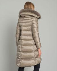 Beżowy puchowy płaszcz