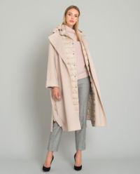 Beżowy płaszcz z puchową kamizelką
