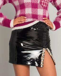 Czarna spódnica mini z kryształami