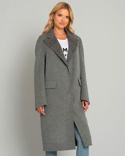 Szary wełniany płaszcz