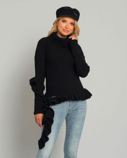 Czarny asymetryczny sweter z golfem