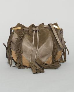 Zamszowa torebka z frędzlami Kylio