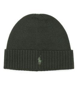 Zielona czapka z wełny