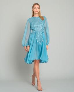 Jedwabna sukienka z kryształami Frenchie Blue