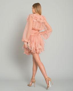 Jedwabna sukienka mini z falbanami Fiora
