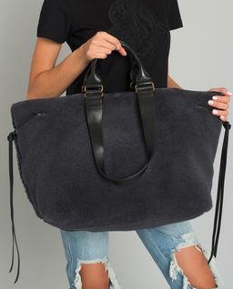 Czarna futrzana torba