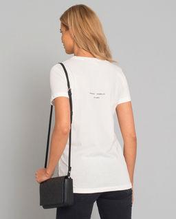 Biały t-shirt z grafiką skarabeusza