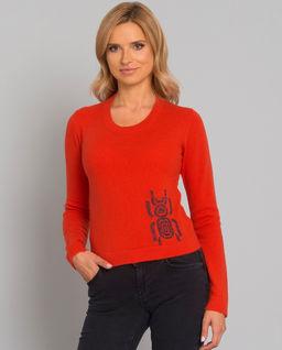 Kaszmirowy sweter z wzorem skarabeusza