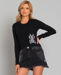 Krótki sweter z wełny i kaszmiru