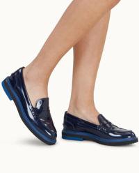 Niebieskie skórzane loafery
