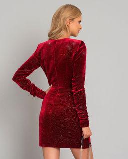 Červené, velurové šaty s krystalky