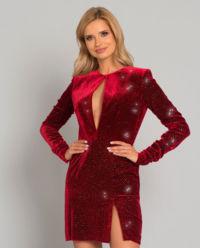 Czerwona welurowa sukienka z kryształami