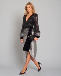 Srebrzysta sukienka midi