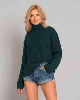 Zielony sweter z wełny