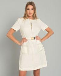 Béžová lněná sukně