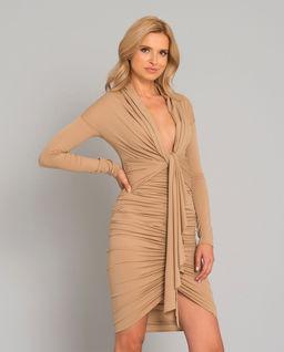 Beżowa sukienka midi