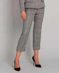Šedé kostkované kalhoty