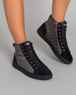 Czarne sneakersy z pikowaniem
