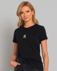 Czarny t-shirt z wzorem skarabeusza