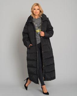 Czarny puchowy płaszcz  z kapturem