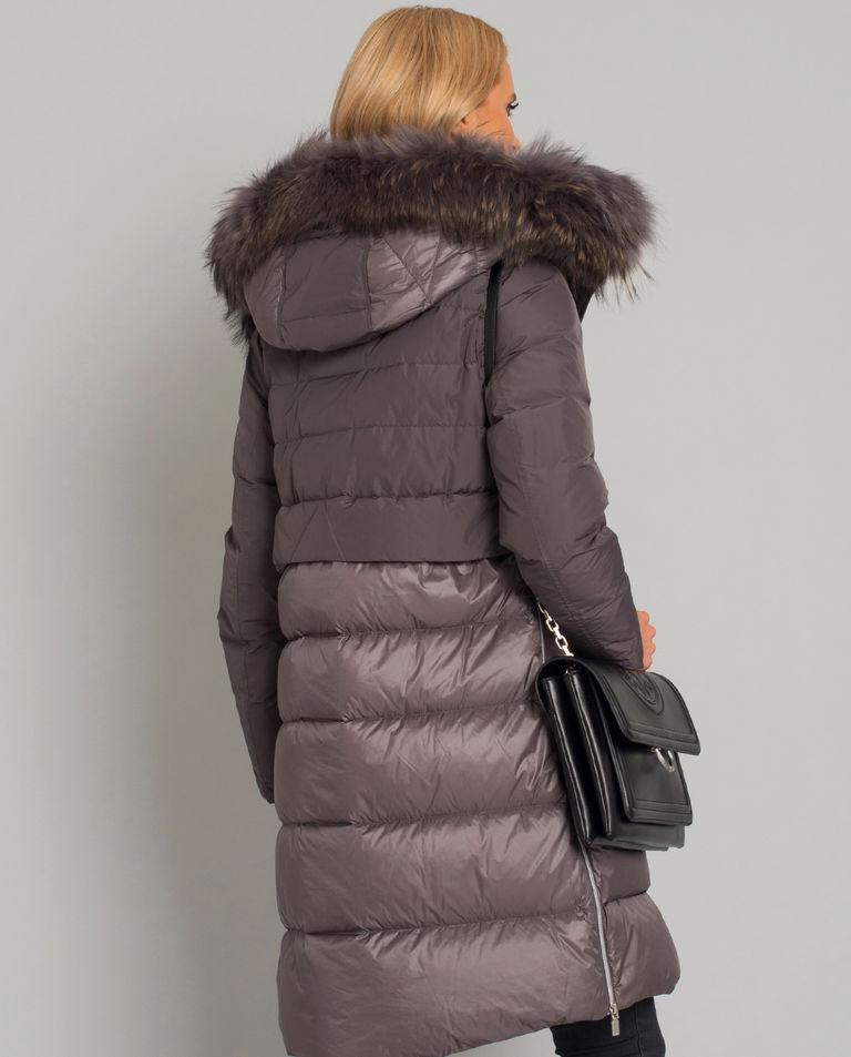 Puchowy wodoodporny płaszcz z futrem