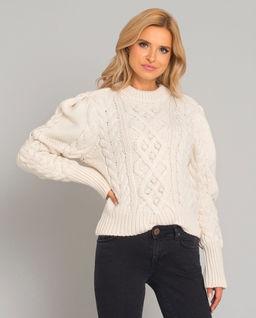 Wełniany sweter z warkoczowym splotem