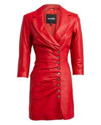 Czerwona sukienka ze skóry