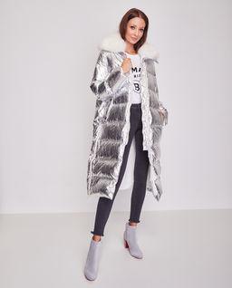 Srebrny płaszcz puchowy