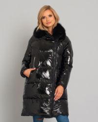 Płaszcz puchowy z futrem z lisa