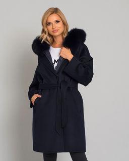 Granatowy wełniany płaszcz z puchową kamizelką