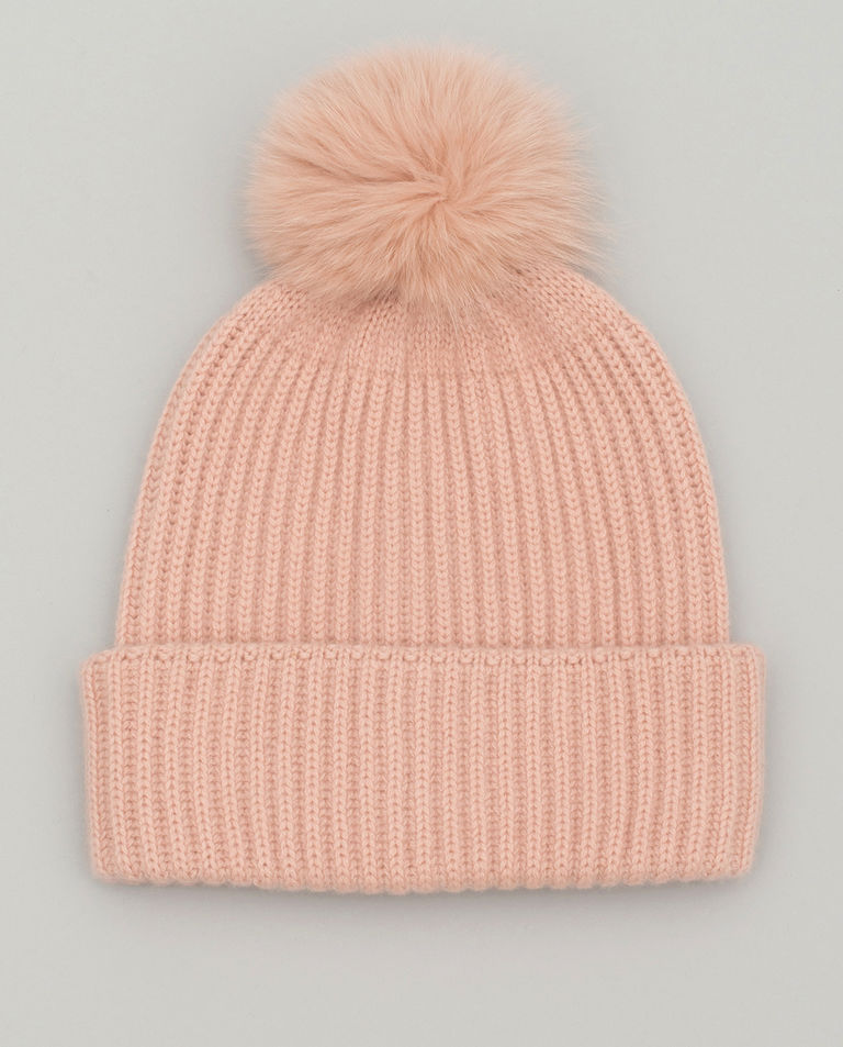 Kaszmirowa czapka z pomponem