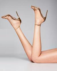 Złote sandały na szpilce Purist