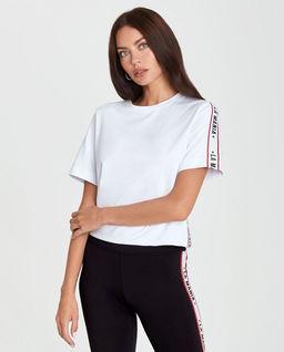 Biały t-shirt z lampasem