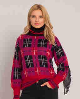 Kostkovaný svetr s rolákem