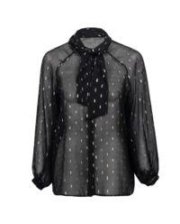 Czarna transparentna bluzka z jedwabiu Lorette