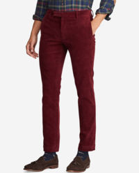 Bordowe sztruksy Slim Fit
