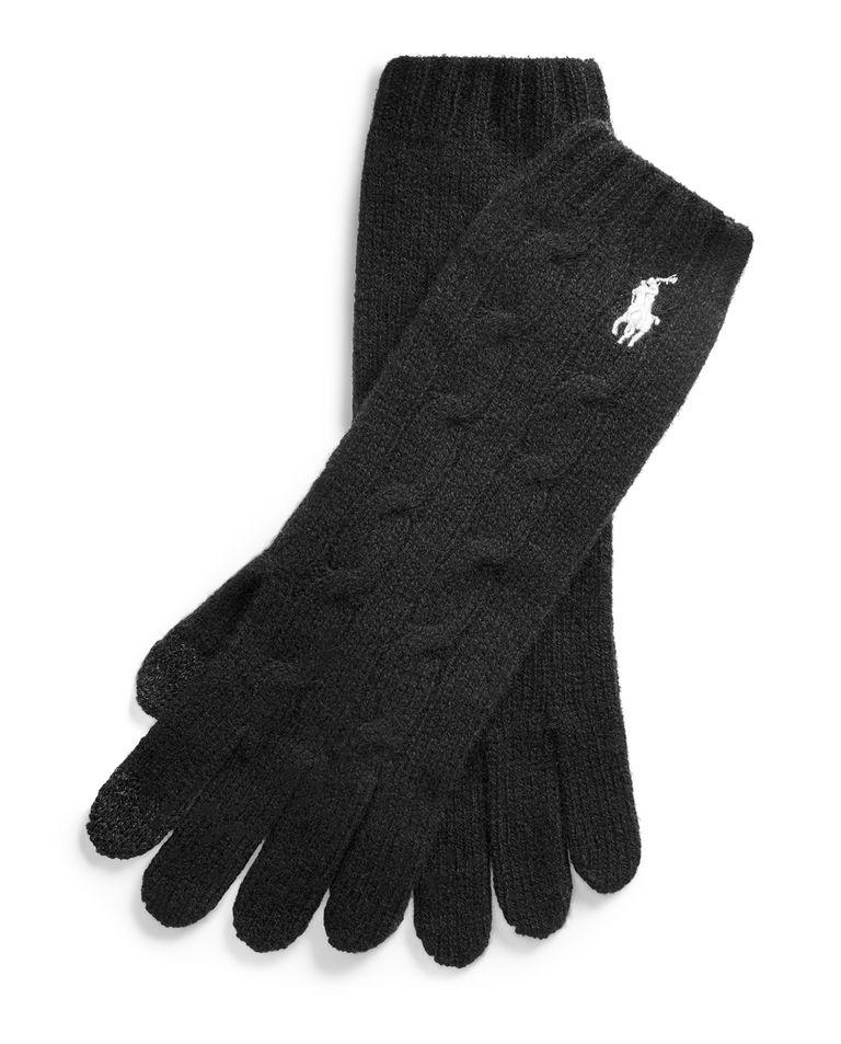 Czarne rękawiczki z domieszką kaszmiru