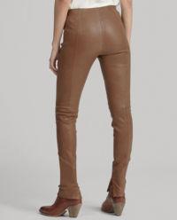 Brązowe spodnie ze skóry