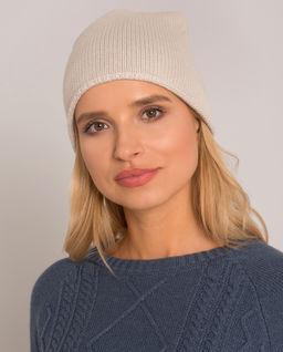 Beżowa czapka z wełny i kaszmiru