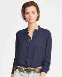 Granatowa bluzka z jedwabiu