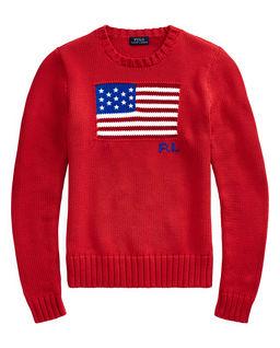 Czerwony sweter z flagą