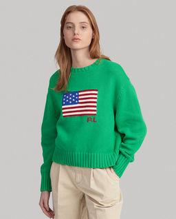 Bawełniany sweter z flagą