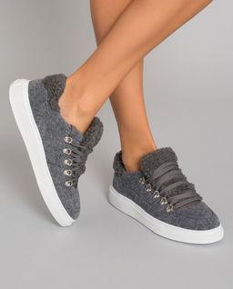 Szare sneakersy z kożuchem H365