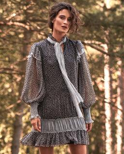Jedwabna sukienka mini z wiązaniem Clio