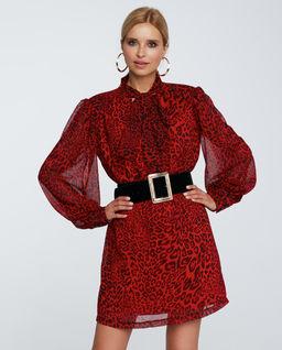 Czerwona sukienka w panterkę Alice
