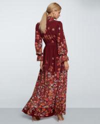 Bordowa sukienka w kwiaty Becca