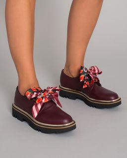 Bordowe skórzane loafery