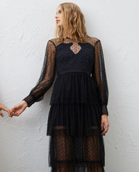 Czarna sukienka midi Mysteria