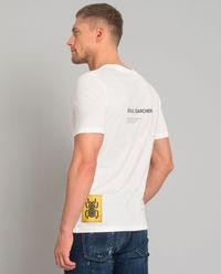 Biały t-shirt ze skarabeuszem i napisami